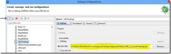 Nokia IDE - create debug config
