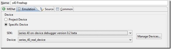 Nokia IDE - select debug emulation